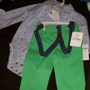 12 Month Green Pants Dress Set